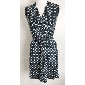 Loft • Blue Black Tie Waist Pockets Dress